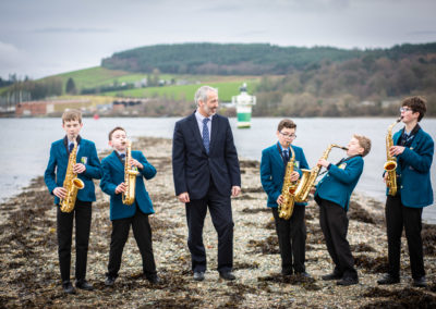 Mr Fleming with some of the younger Lomond School saxophonists